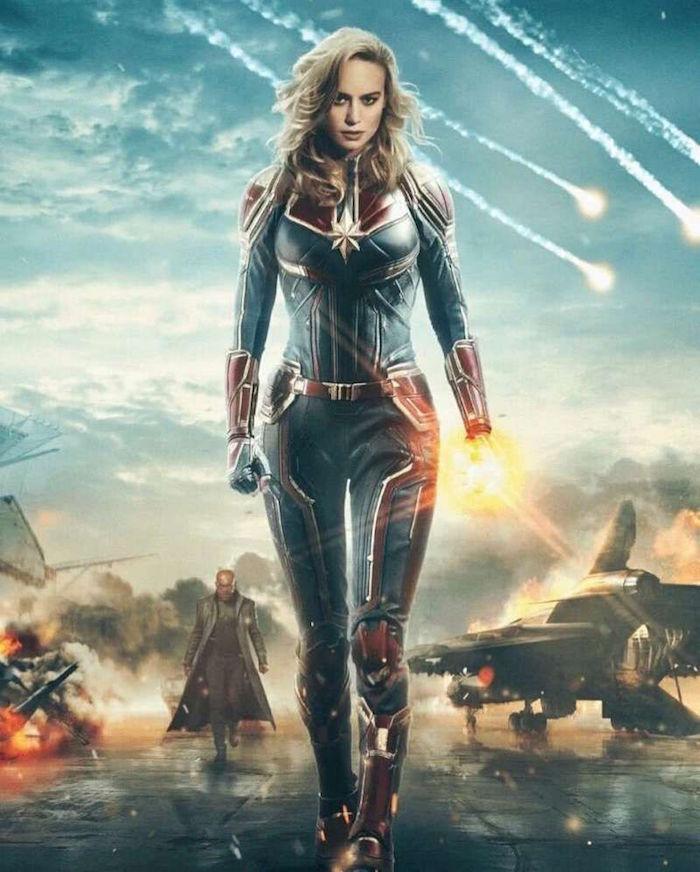 image du film Captain Marvel qui détient le record box office du film démarrage pour un film réalisé par une femme Anna Boden et héroine de Marvel jouée par Brie Larson