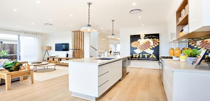 cuisine avec îlot, amenagement petite cuisine, poster mural, coin cuisine scandinave, armoires suspendues
