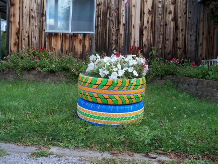 pneus aux motifs graphiques, pelouse verte, pétunias blancs, deco jardin recup