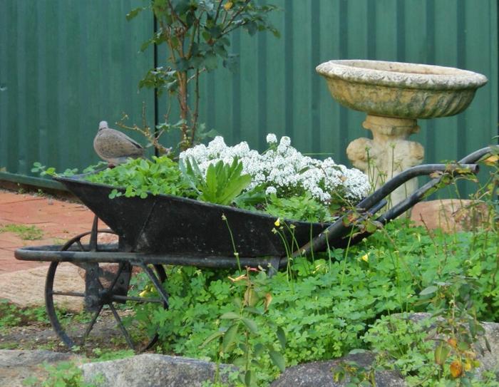 ancienne fontaine de jardin en pierre, brouette métallique, aménagement jardin créatif