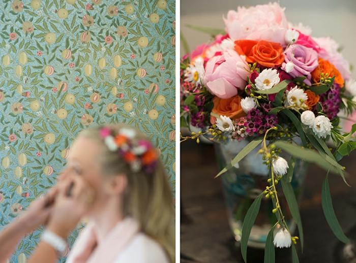 décoration florale mriage, couronne de fleurs, bouquet ou composition florale avec fleurs champêtre