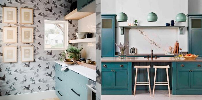 couleur mur cuisine avec meuble bois repeint en nuances pastel, mur de cadres bois pour la cuisine, étagère murale effet cheminée