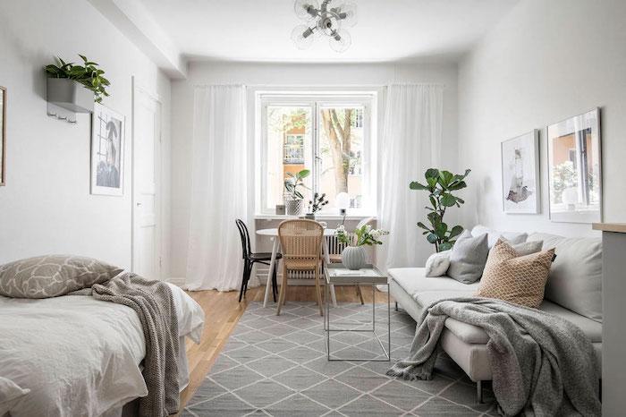 salle à manger, salon et chambre à coucher dans une seule et même pièce, studio étudiant style nordique, deco gris et blanc