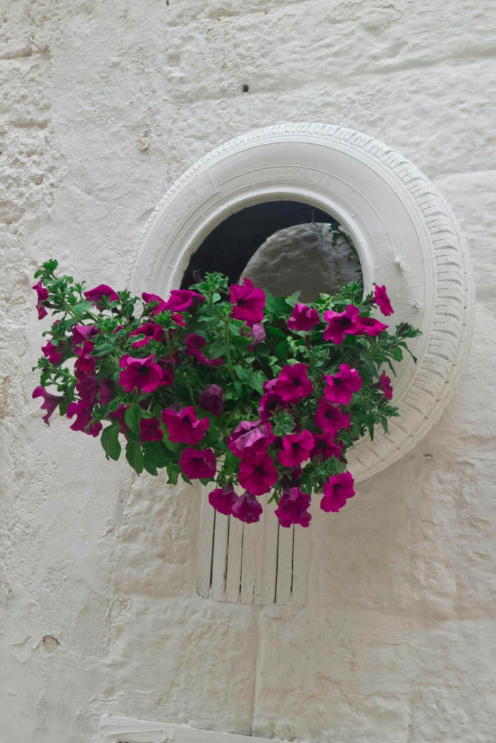 aménagement jardin, pneu blanc, mur en pierre blanche, pneu peint blanc, cascade de pétunias