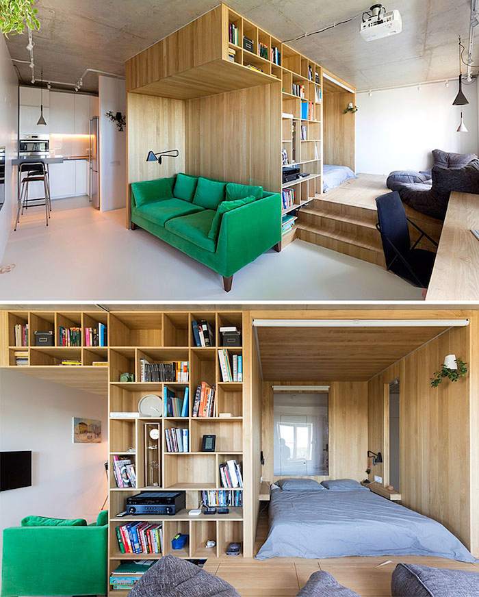 bibliothèque en bois, canapé en simple matelas et lit sur estrade de bois, canapé vert emeraude, kitchenette pour studio blanche