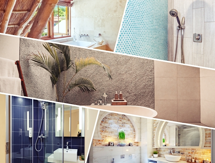 idée comment décorer les murs dans une salle de bain, revêtement mural avec peinture à effet, carreaux imitation briques