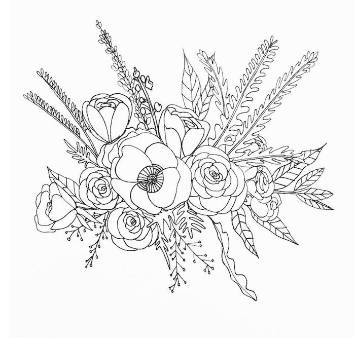 Composition florale dessiner une rose, apprendre a dessiner facilement dessin noir et blanc schematique