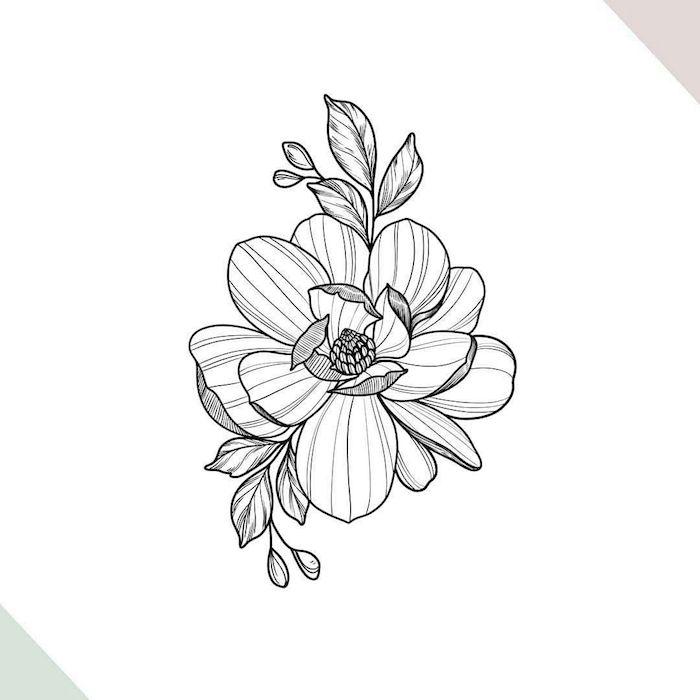 Fleur en perspective, dessin 3d de fleur cool pour tatouage, apprendre a dessiner facilement dessin facile a reproduire par etape