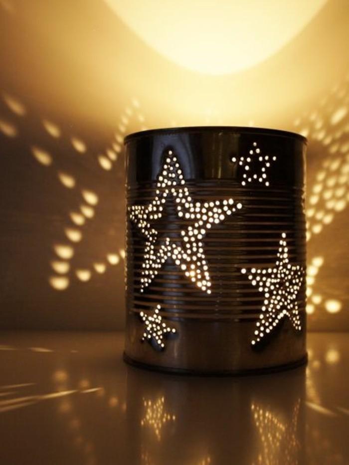 faire des trous sur une canette, diy lanterne fabriquée en boîte de conserve, modèle lanterne aux motifs étoiles