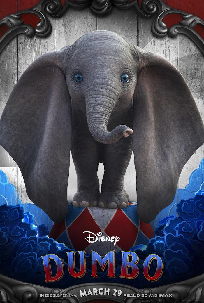 affiche du nouveau film Dumbo 2019 réalisé par Tim Burton, adaptation du classique Disney de 1941