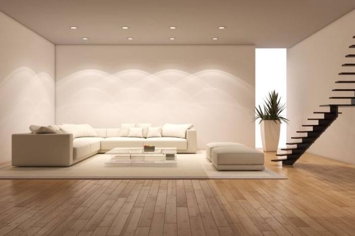 design intérieur moderne avec un éclairage led en forme de spots LED sur le plafond, idée éclairage moderne