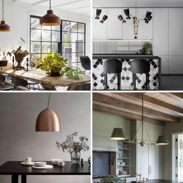 quel type d'éclairage pour une cuisine moderne, idée peinture à effet béton pour la salle à manger moderne, tendance cuisine 2019