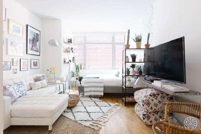 lit séparation chambre salon avec étagère de plantes, mur végétal intérieur, lit gris et blanc, canapé d angle blanc, mur de cadres, parquet bois clair