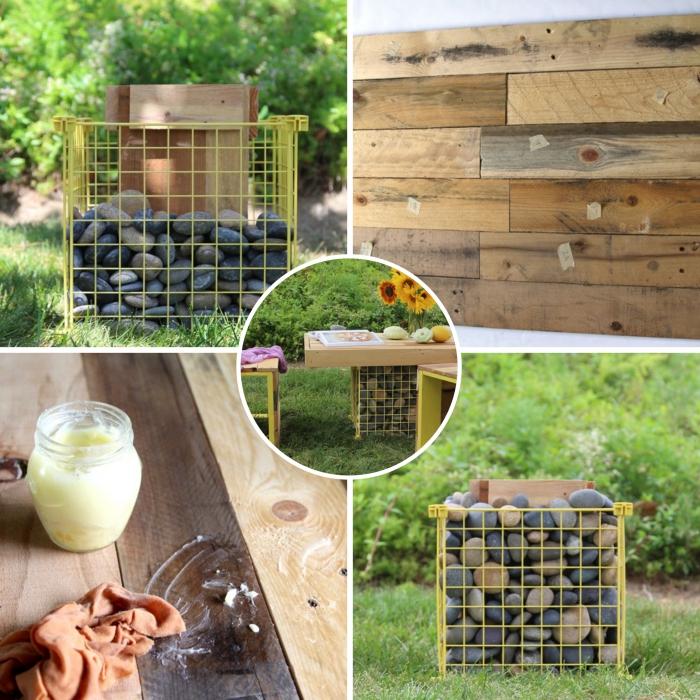 construire un plateau de table en palette pour l'extérieur, modèle de meuble en bois fait main avec palettes et galets