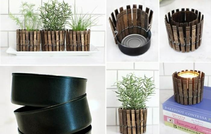 exemple boite de conserve deco, faire un pot à fleur en canette avec décoration pinces bois pour effet clôture de jardin