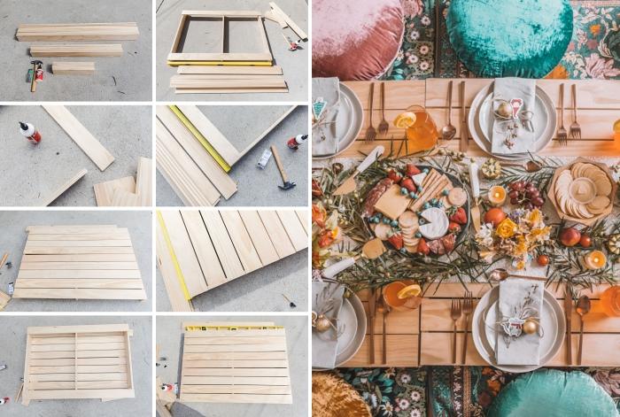 étapes à suivre pour réaliser une table basse en palette recyclée, idée table de pique-nique facile à faire soi-même avec palette