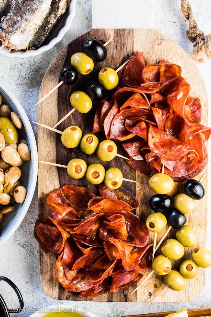 Olives et chorizo pour un entrée simple, recette plat unique, apero dinatoire original, idée que preparer