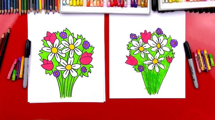 Bouquet de fleurs coloré dessin, fleur de lys dessin apprendre a dessiner facilement