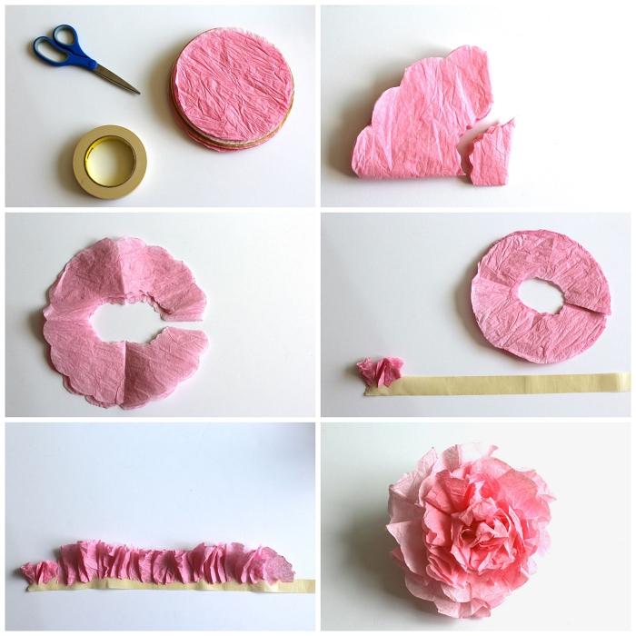 tuto fleur en papier crépon, joli modèle de rose anglaise en papier crépon