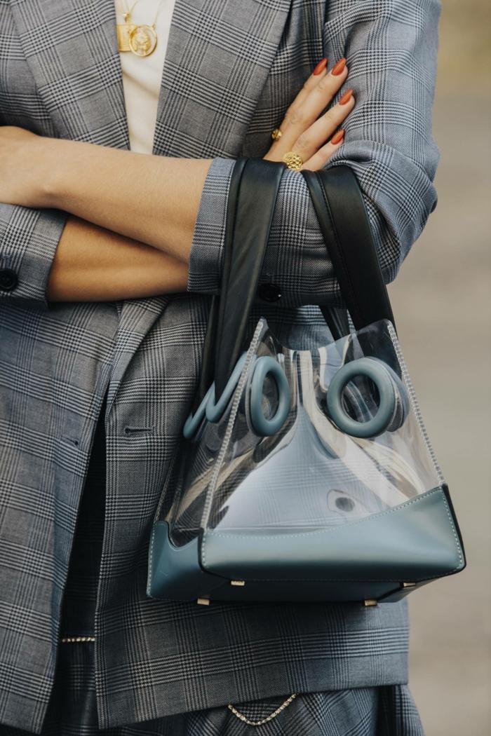 sac à main tendance bimatière, combinaison de cuir et acrylique, veste longue classique