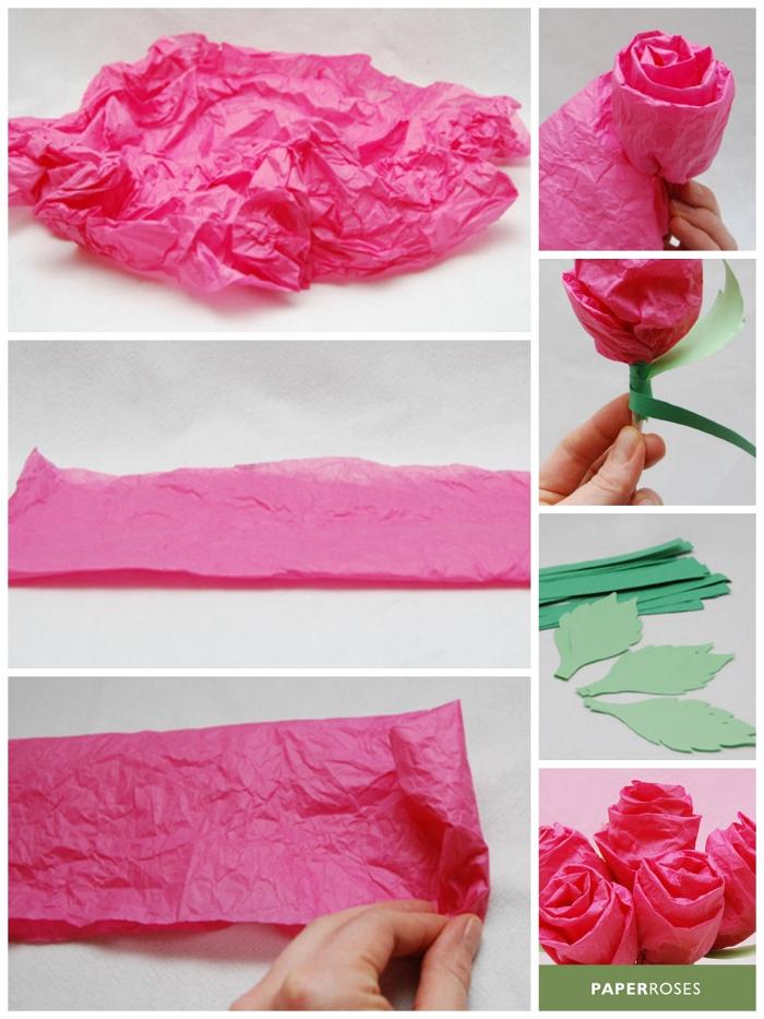 tuto pour fabriquer une fleur en papier de soie, rose en papier de soie délicate et poétique avec feuilles et tige en papier
