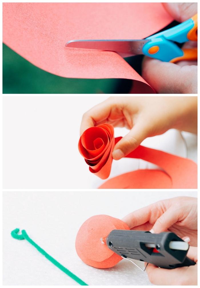 activité manuelle de printemps facile inspiré de la belle et la bête, réaliser une fleur en papier facile