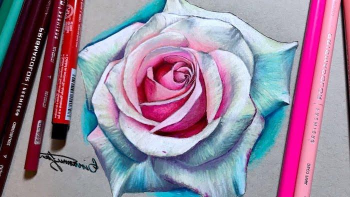 Rose en perspective, le plus beau dessin du monde dessin facile a reproduire par etape
