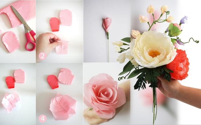 modèle de rose en papier crepon délicate et poétiques, bouquet de fleurs en papier à faire soi-même