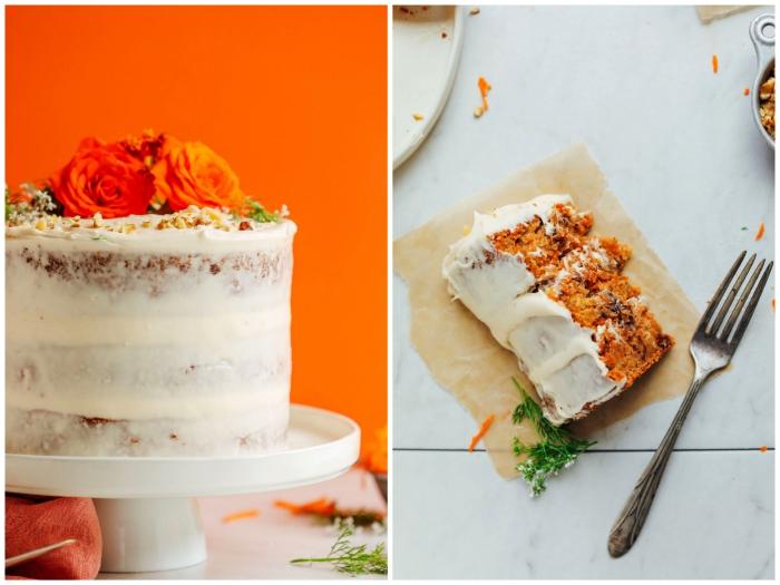 recette sans gluten de layer cake aux carottes au glaçage léger de crème beurre vegan avec un joli décor floral
