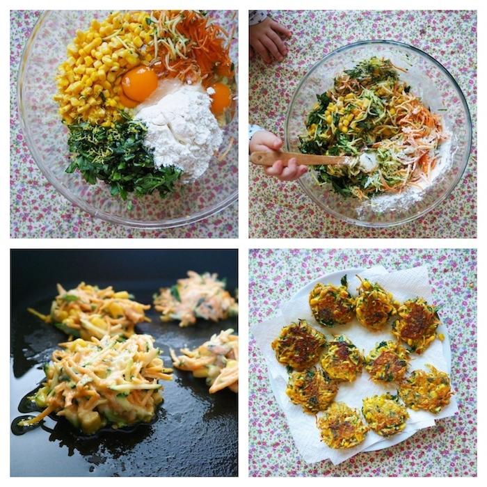 röstis aux légumes, carottes, mais, persil, farine et oeufs mélangés dans un bol et frites a la poele, idée repas rapide léger