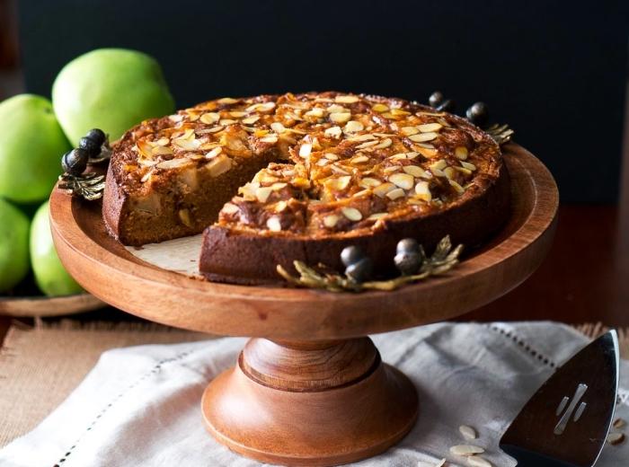 recette de gâteau amandine aux pommes sans farine de blé, recette allégée de gateau amande et pomme