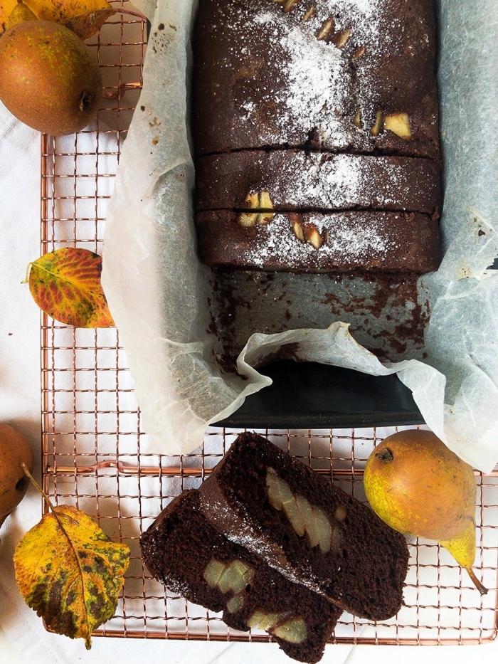 gateau au chocolat rapide et facile, cake au chocolat et aux poires sans farine idéal pour un dessert sans gluten