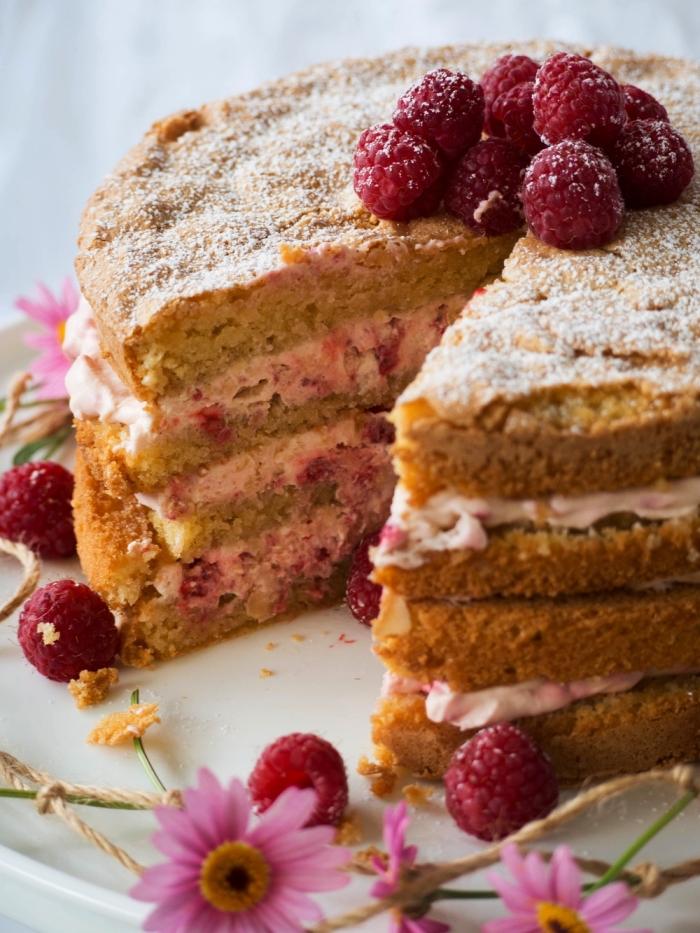 recette sans farine de blé de gateau aux amandes, aux framboises et à la vanille, gâteau moelleux
