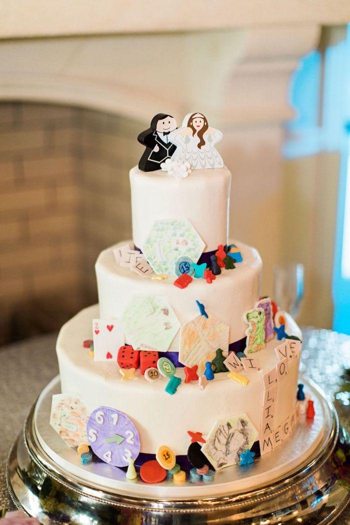 Gateau de mariage thematique pour les jeux anniversaire adulte, idée d'animation mariage divertissement