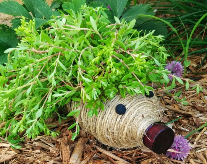 bouteille en plastique, fil en jute embobiné, hérisson créé avec bouteille et fil de jute à placer dans le jardin
