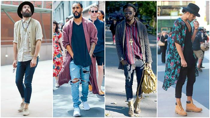 comment s'habiller hippie chic homme, tenues bohèmes, pantalons enroulés, long t-shirt, long gilet, kimono à fleurs