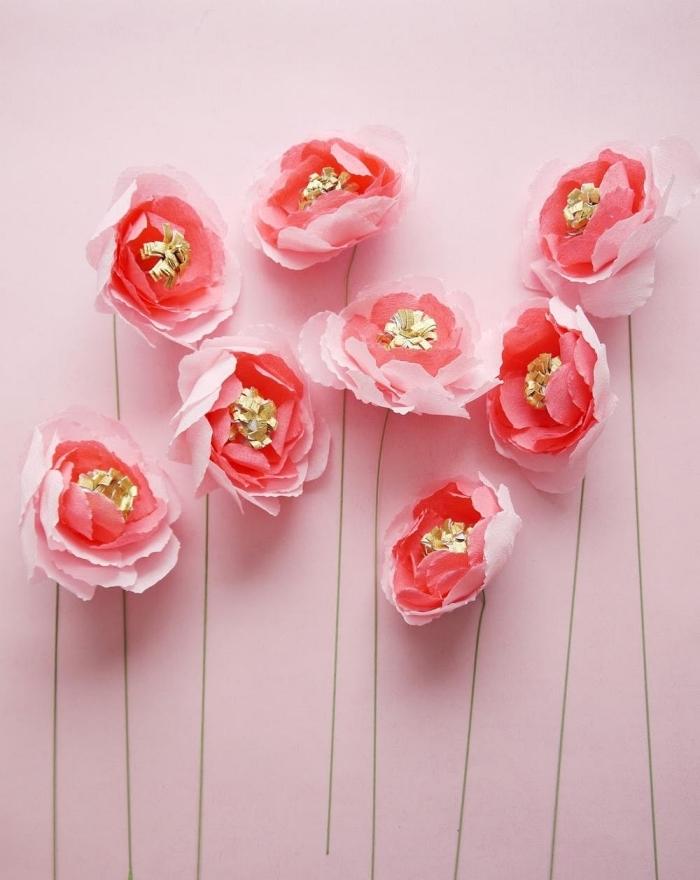 comment faire des fleurs en papier crépon, rose en papier crépon délicate avec son pistil doré et sa tige longue