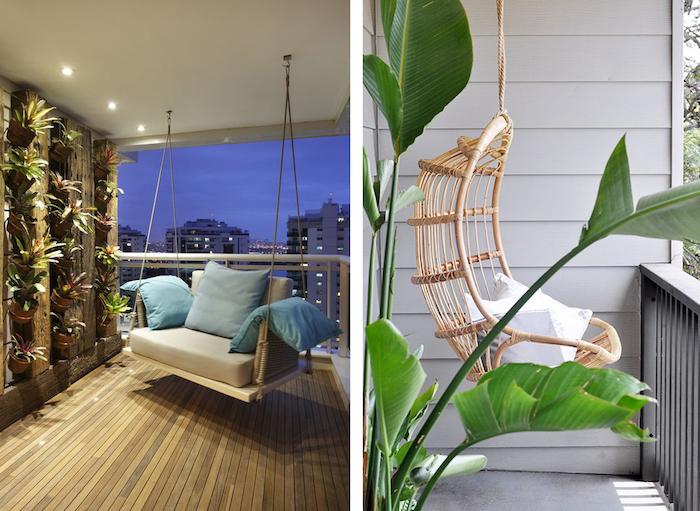 fauteuil suspendu ou balancelle à installer sur le balcon, idee decoration de balcon originale pour espace exterieur cocoon