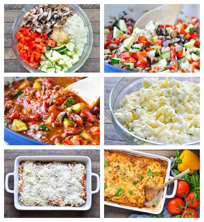 recette lasagne vegetarienne facile réalisée avec un mélange de légumes de saison, courgetts, champignons, poivrons, sauce marinara et mélange de fromages