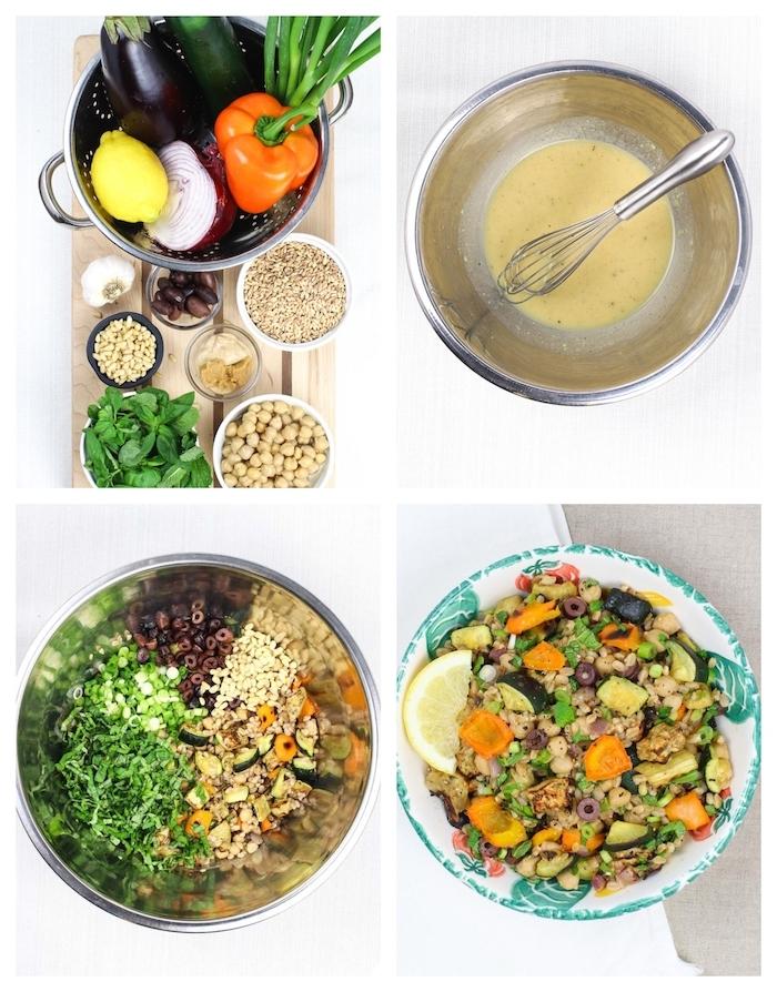 salade d été composée aux légumes de saison, pois chiches et dressing intéressant, idée repas rapide