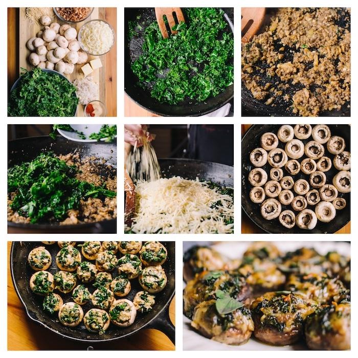 comment faire un apéro végétarien dinatoire, champignons farcis d épinards, noix, mozarella dessus, repas vegetarien