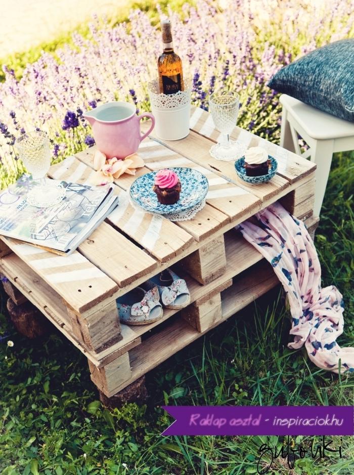 modèle de table basse en palette, exemple comment réaliser une petite table en bois recyclé, comment organiser pique-nique