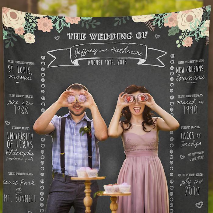 Le couple marié avec cupcakes sur les yeux, idée animation mariage temoin, jeux mariage, faire quelque chose d'original