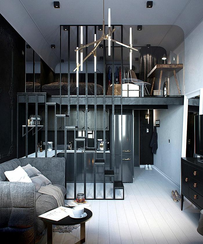 appartement de deux niveaux, kithcnette pour studio gris anthracite, mezzanine avec lit, dressing et petit bureau