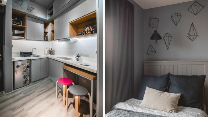 petite cuisine moderne, cuisine couleur gris clair, placards gris, table gigogne industrielle, chambre à coucher grise