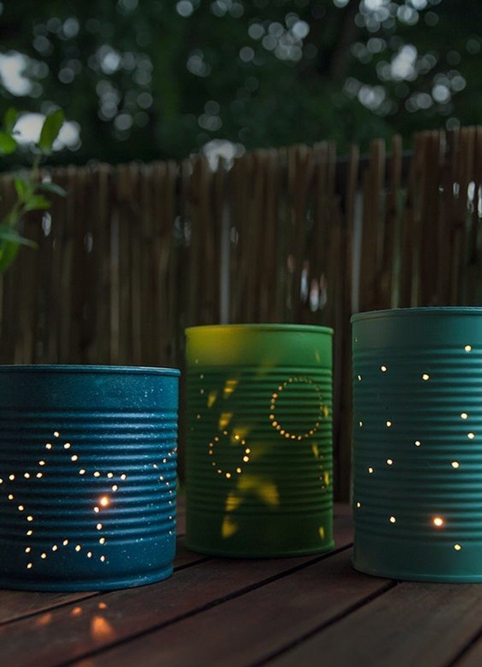 comment recycler une boîte de conserve, fabriquer des lanternes diy faciles en canette aluminium, modèle lanterne en boîte conserve