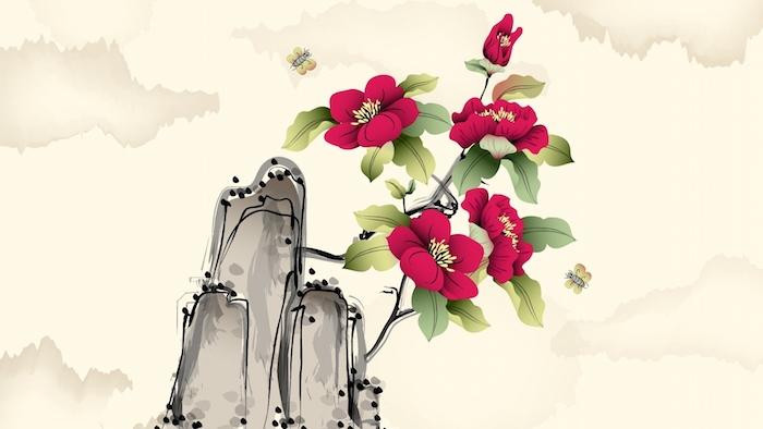 fleur rouge abstrait dessin original idée dessin de fleur de montagne, les fleur de printemps belles