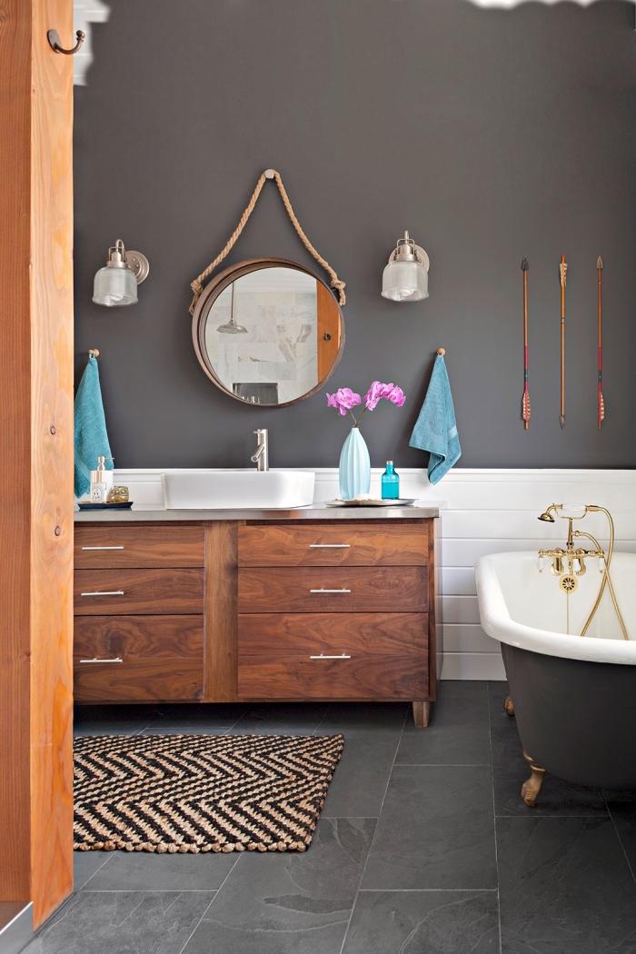 modèle carreaux imitation béton ciré, quelle peinture choisir pour salle de bain, nuances de gris dans l'intérieur