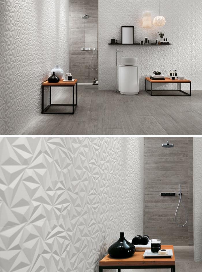 panneau mural salle de bain aux motifs relief, table basse bois avec pieds en fer, exemple rangement mural avec étagère noire