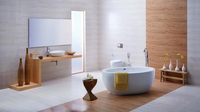 décoration salle de bain moderne en blanc et bois, revetement mural salle de bain avec panneaux à imitation bois